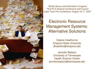Electronic Resource Management Systems: Alternative Solutions
