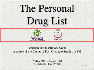 The Personal Drug List