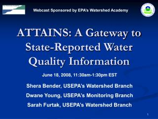ATTAINS: A Gateway to State-Reported Water Quality Information