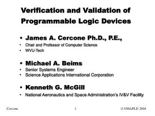 Verification and Validation of Programmable Logic Devices
