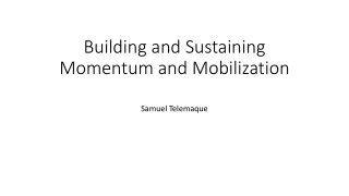 Building and Sustaining Momentum and Mobilization