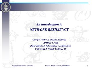 An introduction to NETWORK RESILIENCY