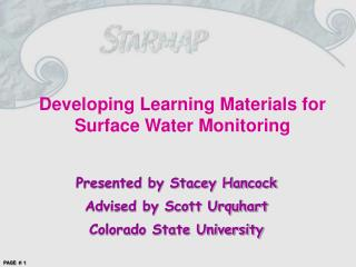 Developing Learning Materials for Surface Water Monitoring