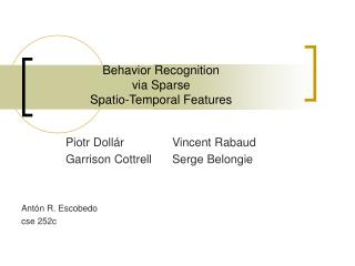 Behavior Recognition  via Sparse  Spatio-Temporal Features