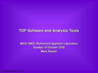 TOF Software and Analysis Tools