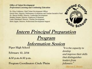 Intern Principal Preparation Program Information Session