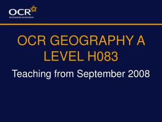 OCR GEOGRAPHY A LEVEL H083