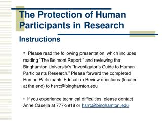 The Protection of Human Participants in Research  Instructions