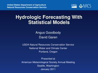 Hydrologic Forecasting With Statistical Models