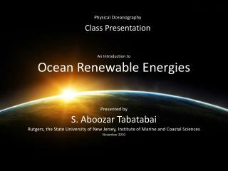 An Introduction to Ocean Renewable Energies