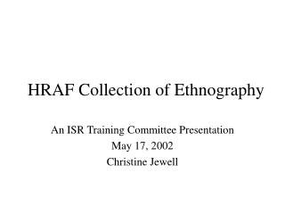 HRAF Collection of Ethnography