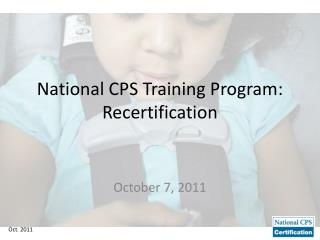 National CPS Training Program: Recertification