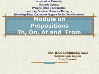 Module on Prepositions In, On, At and  From