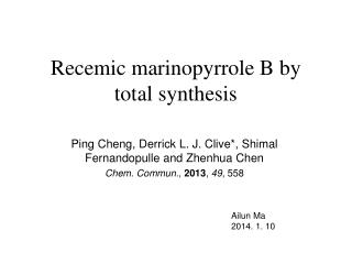 Recemic marinopyrrole B by total synthesis
