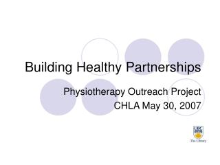 Building Healthy Partnerships