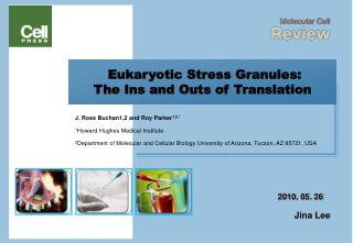 Eukaryotic Stress Granules: The Ins and Outs of Translation