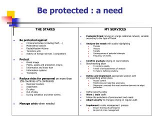 Be protected : a need