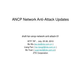 ANCP Network Anti-Attack Updates
