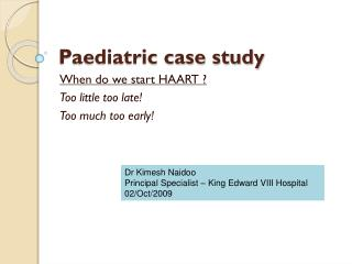 Paediatric case study