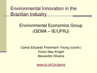 Environmental Innovation in the Brazilian Industry