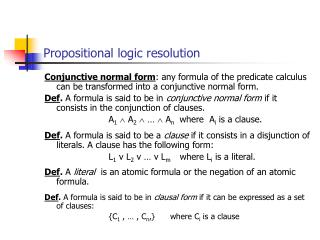 Propositional logic resolution