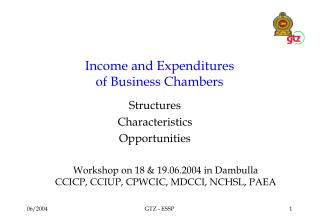 Income and Expenditures of Business Chambers