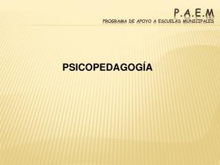 P.A.E.M Programa de apoyo a escuelas municipales