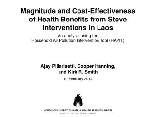 Magnitude and Cost-Effectiveness  of  Health Benefits from Stove Interventions in Laos