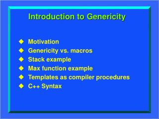 Introduction to Genericity