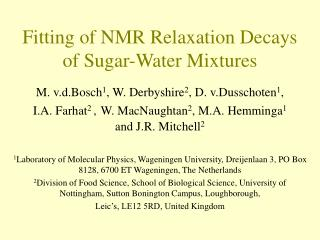 Fitting of NMR Relaxation Decays of Sugar-Water Mixtures