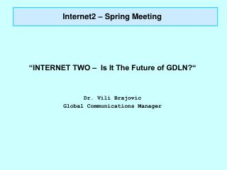 Internet2 – Spring Meeting