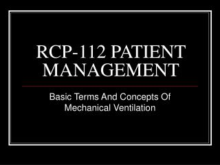 RCP-112 PATIENT MANAGEMENT