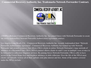 Commercial Recovery Authority Inc. Trademarks Network Forwar