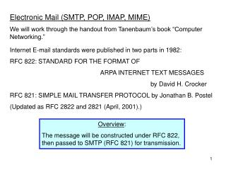 "Electronic Mail (SMTP, POP, IMAP, MIME) We will work through the handout from Tanenbaum's book ""Computer Networking."