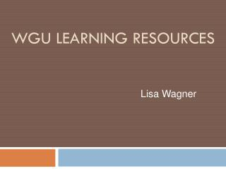 WGU Learning Resources