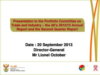 Date : 20 September 2013 Director-General Mr Lionel October