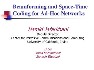 Beamforming and Space-Time Coding for Ad-Hoc Networks