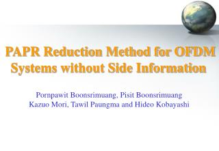 PAPR Reduction Method for OFDM Systems without Side Information