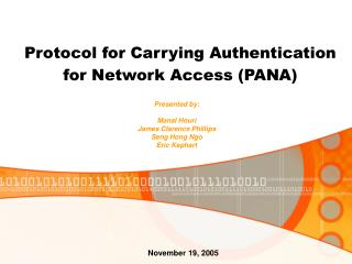 Protocol for Carrying Authentication for Network Access (PANA)