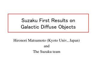 Suzaku First Results on  Galactic Diffuse Objects