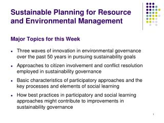 Sustainable Planning for Resource and Environmental Management