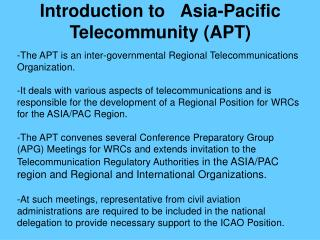 Introduction to Asia-Pacific Telecommunity (APT)