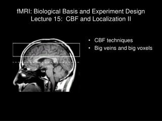 fMRI: Biological Basis and Experiment Design Lecture 15:  CBF and Localization II