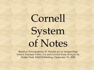 Cornell   System of Notes