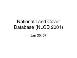 National Land Cover Database NLCD 2001