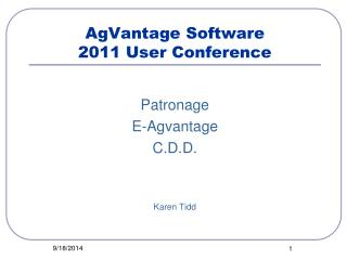 AgVantage Software 2011 User Conference