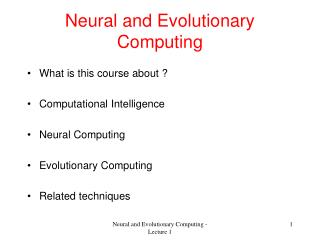 Neural and Evolutionary Computing