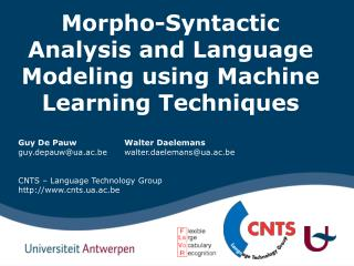Morpho-Syntactic Analysis and Language Modeling using Machine Learning Techniques