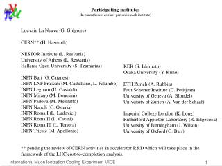 Participating institutes  (In parentheses: contact person in each institute)