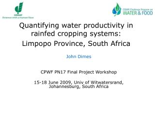 Quantifying water productivity in rainfed cropping systems: Limpopo Province, South Africa